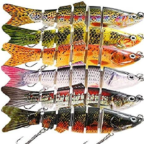 5Pcs 10cm Fishing Lures 7-Segment Crank Bait Hook Bass Crankbaits Tackle Sinking