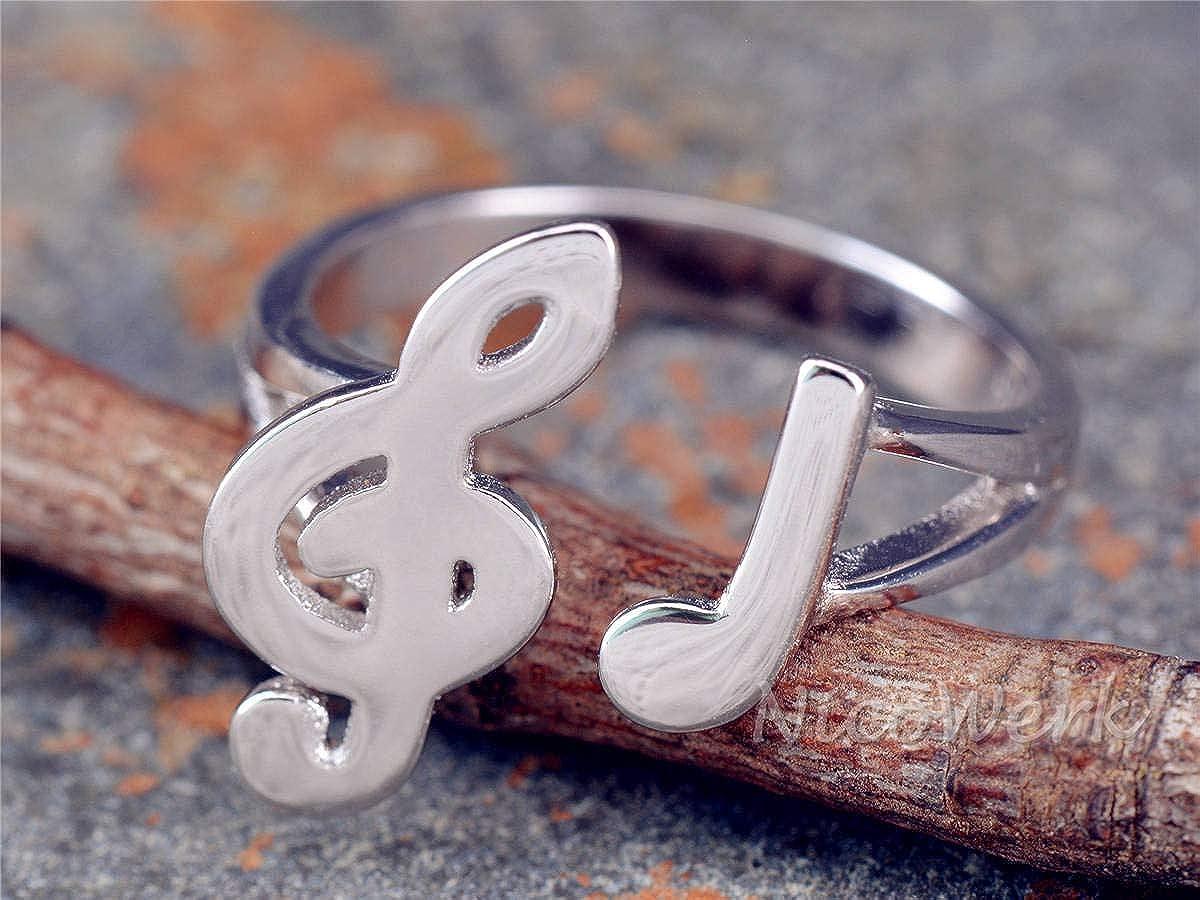Silberring Musik Note Glatt Verspielt Ring Silber 925 Verstellbar Offen