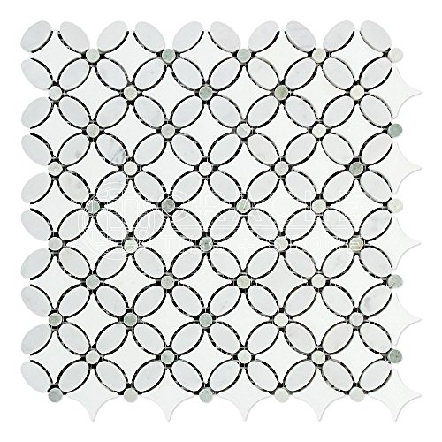 Carrara White Italian (Bianco Carrara) Marble Florida Flower Mosaic Tile with Ming Green Marble Dots, Honed