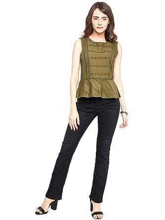 86ab114cf807 vividartsy Women Olive Green Self Design Peplum Top: Amazon.in: Clothing &  Accessories