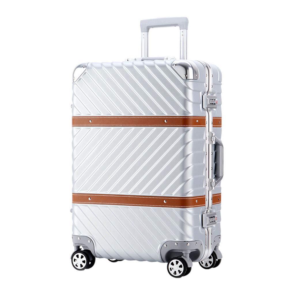 Mesurn JP ビジネスツイルスーツケース、ABS + PU素材のレトロボックス、強度弾性指数、抗圧力降下、ユニバーサルホイールパスワードスーツケース 26inch silver B07PBF4LK7