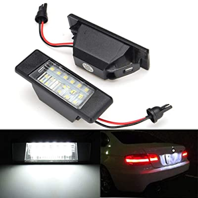 2pcs Car License Plate Light for Nissan Qashqai Armada Juke Primera X-Trail Versa NV200 Rogue Sport Infiniti Q50 Error Free 18 Led White License Tag Lights Rear Number Plate Bulb Assembly: Automotive