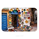 Flannel Microfiber Non-slip Rubber Backing Soft Absorbent Doormat Mat Rug Carpet Colorful Moroccan Faience Pottery Dishes On Display In An Alley Outside A Shop In The Scenic 148565588 for Indoor/Outdo