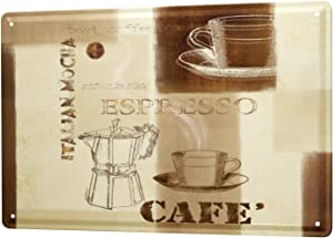 LEotiE SINCE 2004 Tin Sign Metal Plate Decorative Sign Home Decor Plaques Restaurant Kitchens Decoration Italian Espresso Coffee Wall Metal Plate 8X12