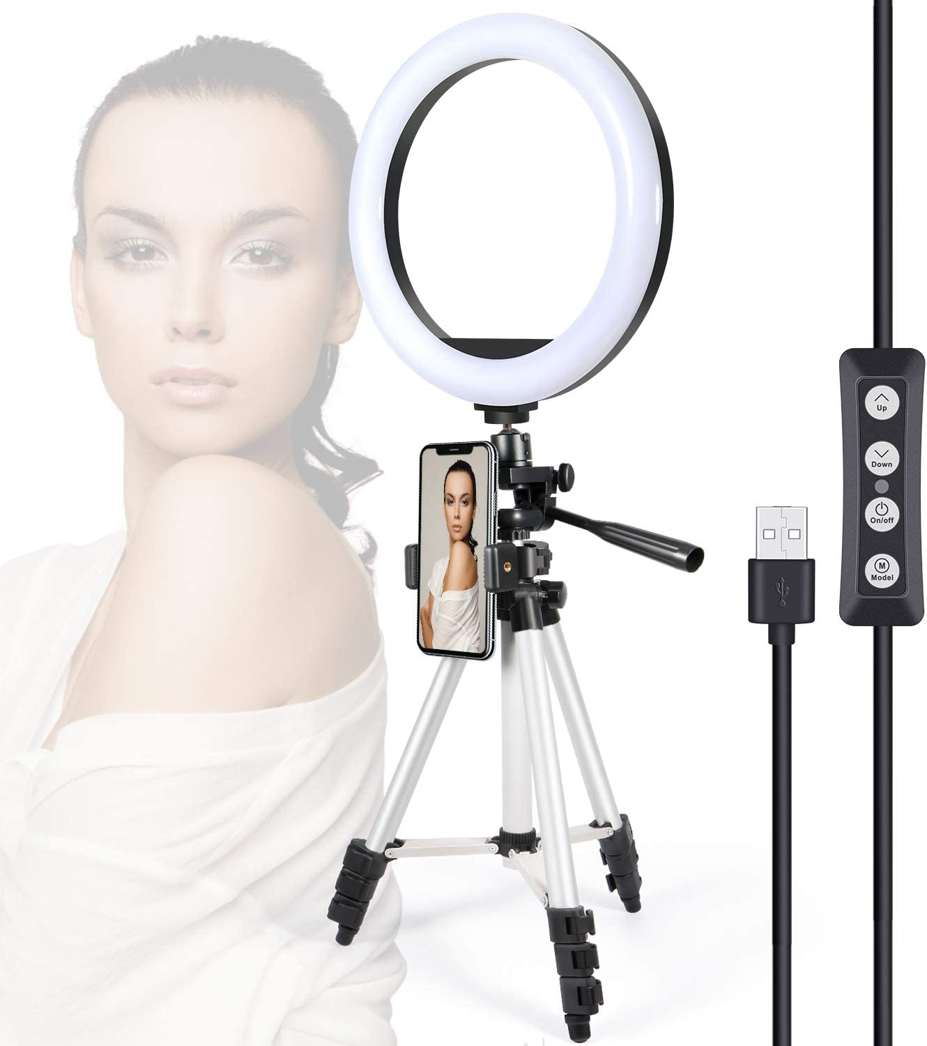 Dimmable Desk Makeup Ring Light Perfect for Live Streaming//Makeup//Photography//Selfie Portrait Selfie Ring Light for Cell Phone LED Ring Light with Tripod Stand /& Phone Holder