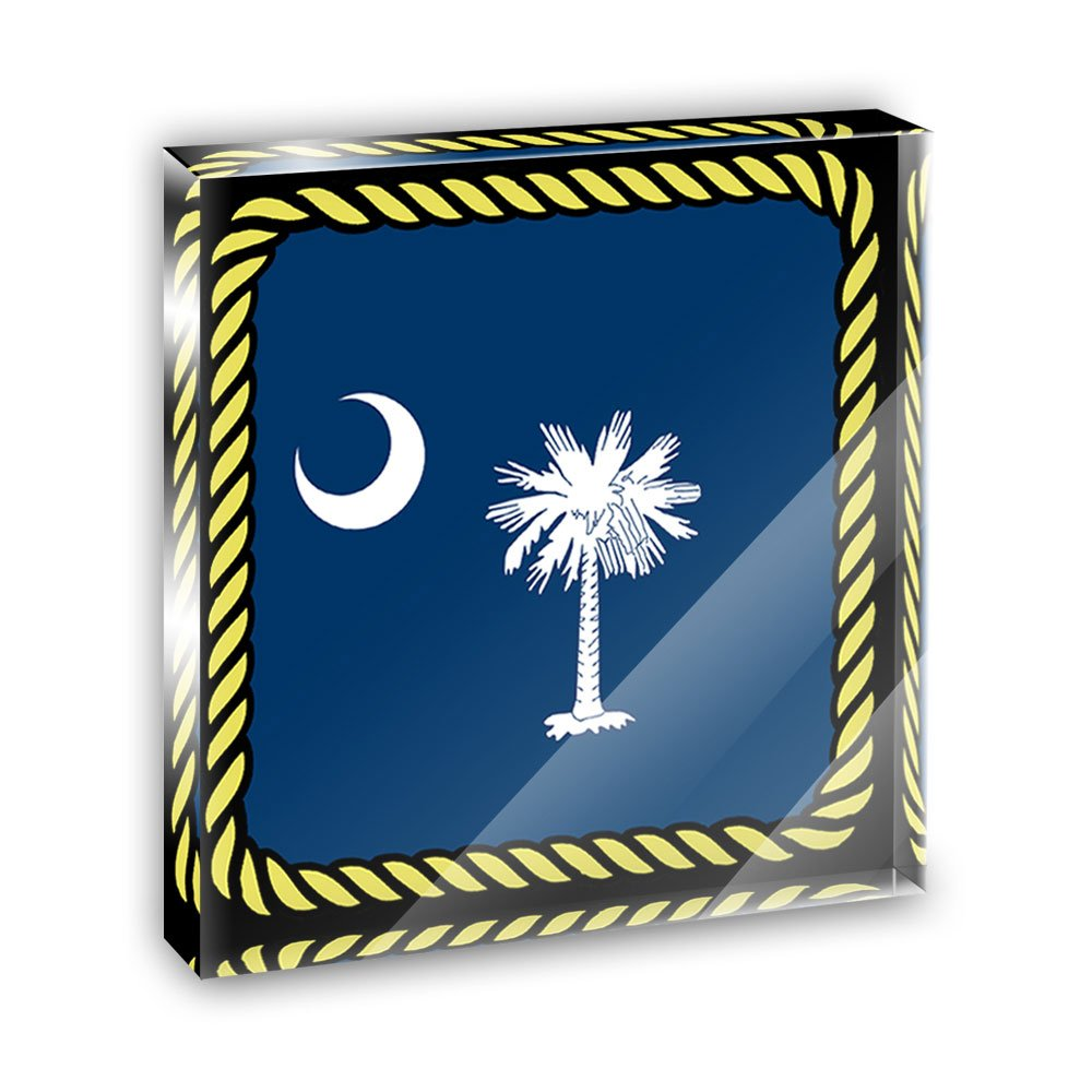 South Carolina State Flag Acrylic Office Mini Desk Plaque Ornament Paperweight