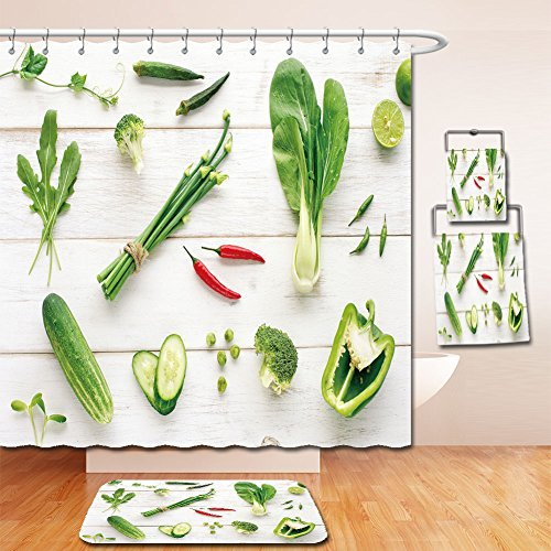 Price comparison product image Beshowereb Bath Suit: Showercurtain Bathrug Bathtowel Handtowel collection of green organic vegetables with red chili accent on wooden table top view 385138021