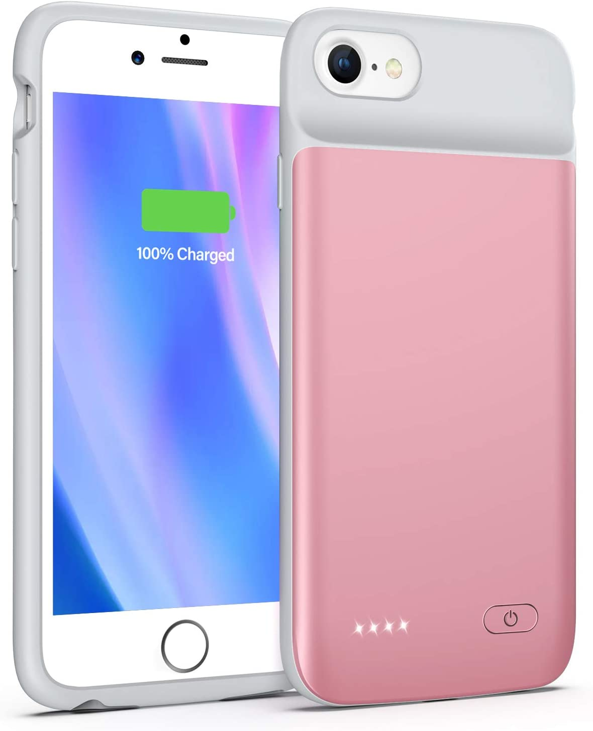 Lonlif Battery Case for iPhone 7/8/SE 2020(2nd Generation), 3200mAh Portable Charging Case Protective Slim Extended Battery Pack Charger Case (Rose Gold)