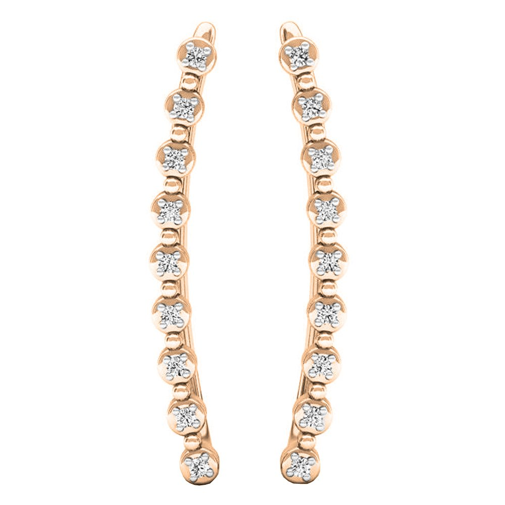 Dazzlingrock Collection 0.05 Carat (ctw) 18K Round White Diamond Ladies Crawler Curved Climber Earrings, Rose Gold