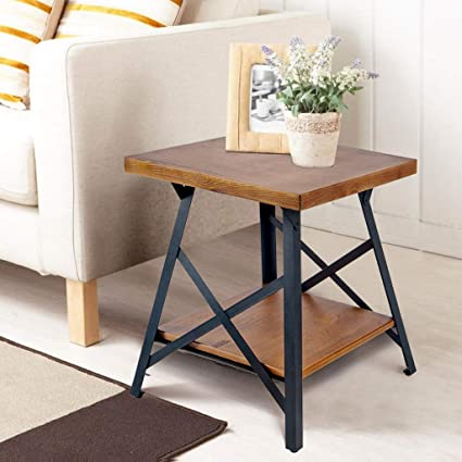 Harper & Bright Designs WF036983DAA Lindor Collection Solid Wood End Table  with Metal Legs,Living Room Set/Rustic Brown,