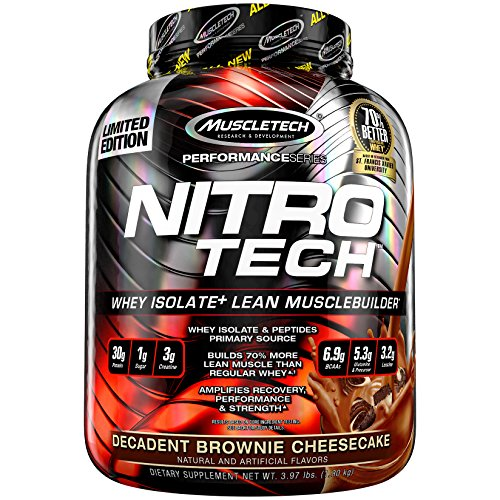MuscleTech NitroTech Protein Powder, 100% Whey Protein with Whey Isolate, Decadent Brownie Cheesecake, 4 Pound