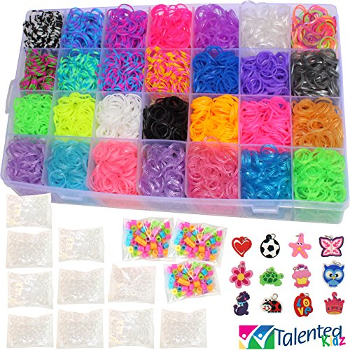 11,000pc Original Rainbow MEGA Refill Loom Bands by Talented Kidz: 10000 Premium Quality Bands in 28 Vibrant Colors, 24 Charms 125 Beads 500 Clips & Organizer. Best Choice f/Rubber Bracelet Making Kit (F Loom)