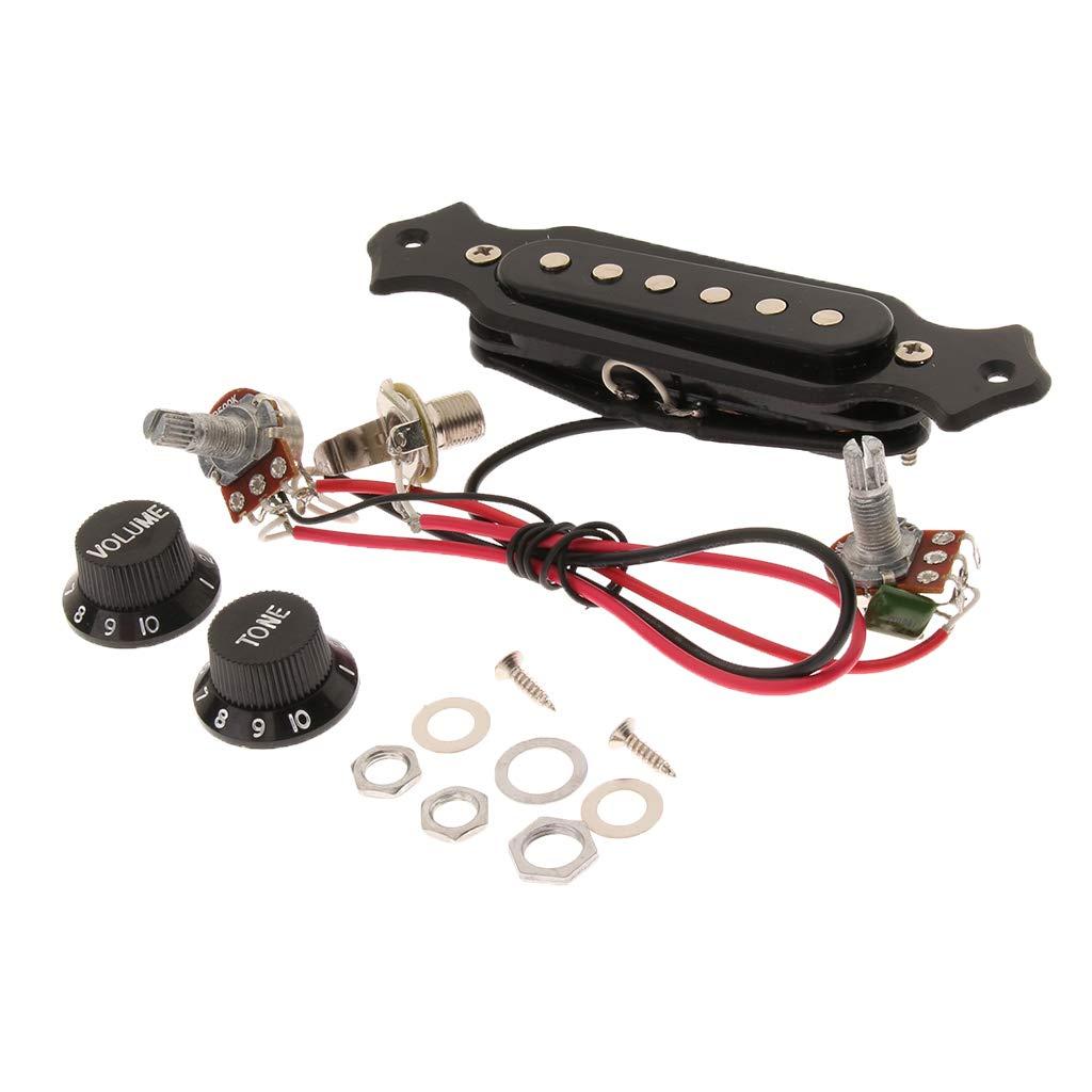 B Blesiya 1 Set 6 String Electric Guitar Soundhole Pickup Harness with Volume/&Tone Knobs Pots