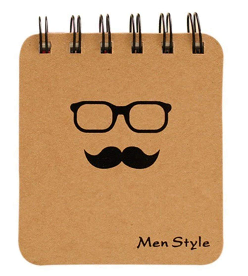 Mr. Beard Series Coil Portable Notepad Memo Pads Portable Notebook Words Cards Kids Gift Stationery School Durable and Useful