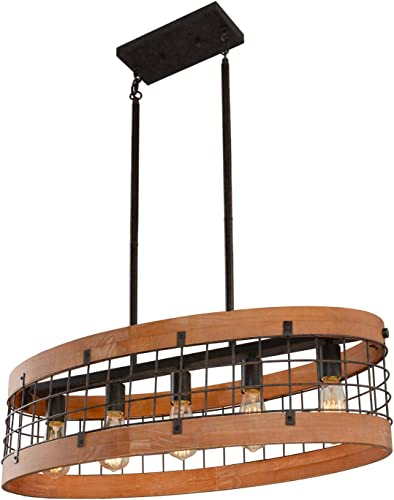 Giluta Oval Wood Chandelier Rustic Farmhouse Chandelier Industrial Metal Pendant Ceiling Light 5 Lights for Kitchen Dining Room Foyer, Brown C0063