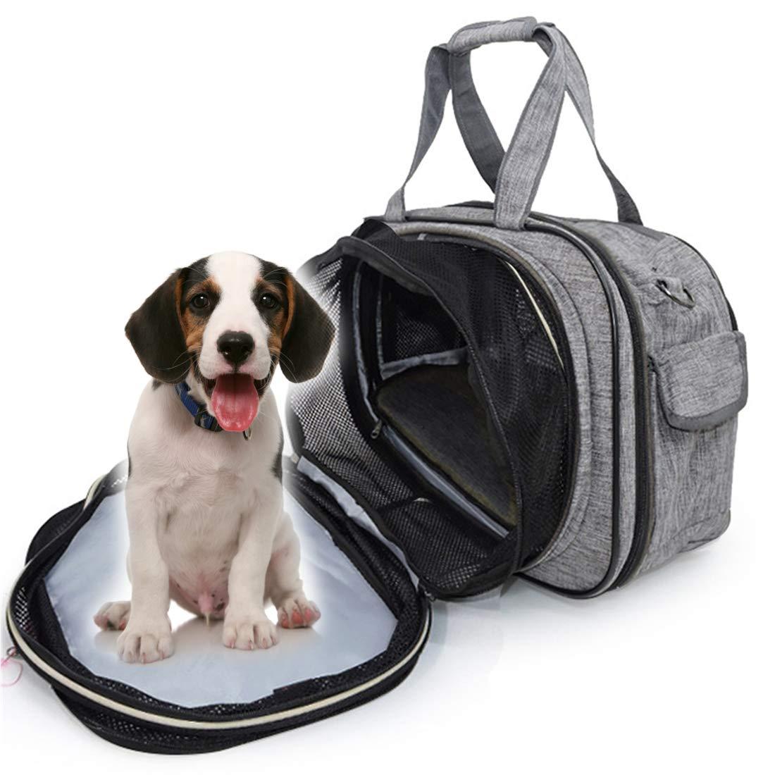 SHINING KIDS Capazos De Coche para Perros Porta Mascotas Y Gatos Bolsa De Viaje De Aire Suave Y Portátil De Primera Calidad Extensible,Gray: Amazon.es: ...