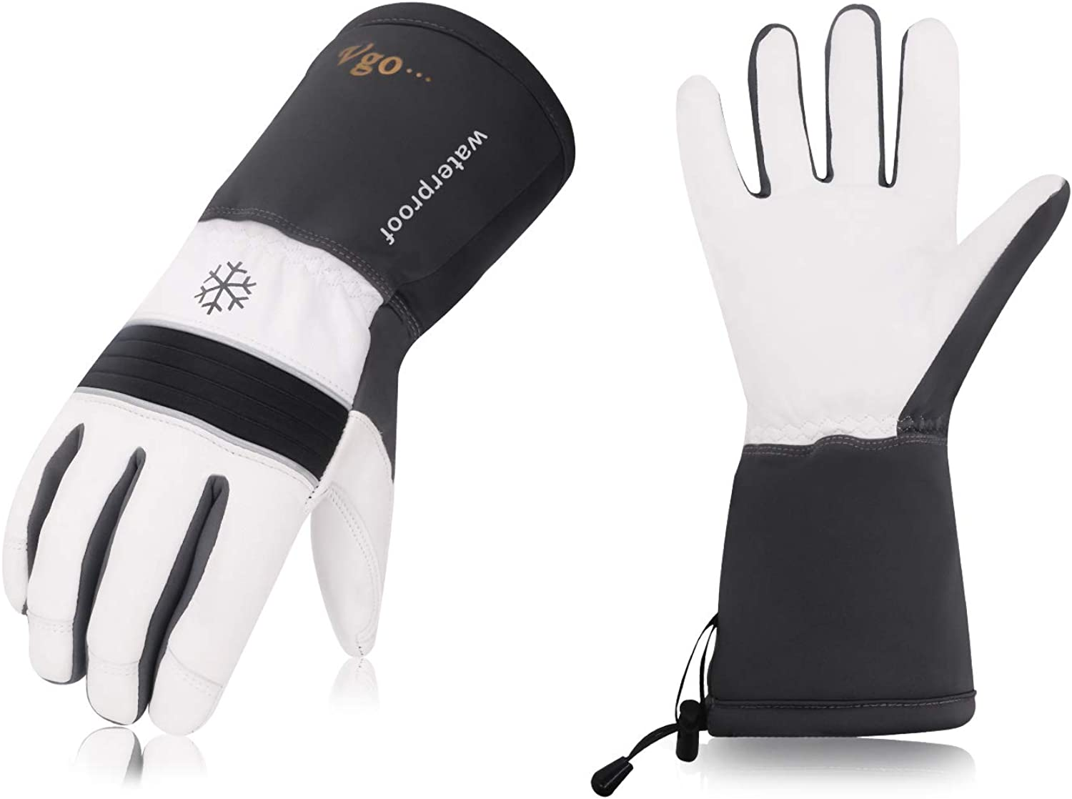 Vgo 2Pairs -23 ℉ or above 3M Thinsulate G200 Lined Goatskin Ski Gloves(Grey,GA8435FW)