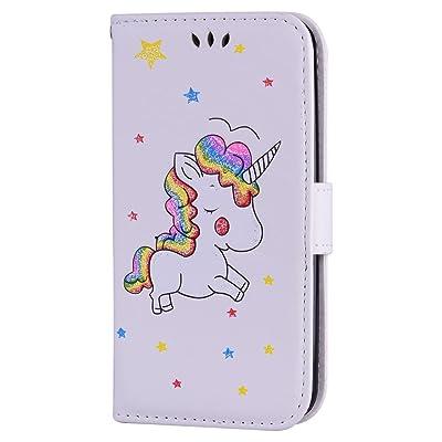 LG K10 Funda, DUGRO Flip PU Cuero Billetera Caso Patrón de Unicornio Cierre Magnético Función de Soporte Billetera con Tapa para Tarjetas Anti-Choque Teléfono Caso - Blanco