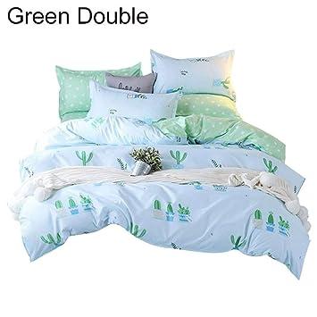 Double Bed Duvet Quilt Cover Bed Sheet Pillow Cases 150cm Bed Line Cactus-M