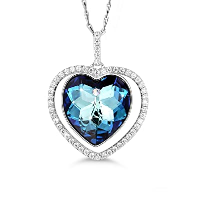 MASOP Sterling Silver Infinity Love Necklace for Women made with Heart Shape Ocean Blue Swarovski Crystal Pendant ohn2x