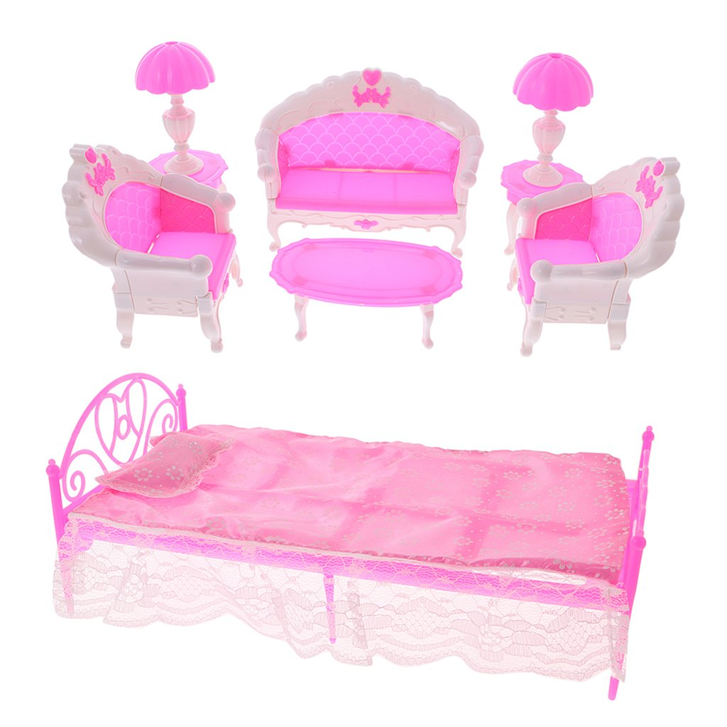 Fenteer DIY 11Pcs 1/6 Dollhouse Bedroom Furniture Set Sofa Couch Chair Lamp Coffee Tea Table Bed Sheet Pillow Set for Barbie Dolls Accessories