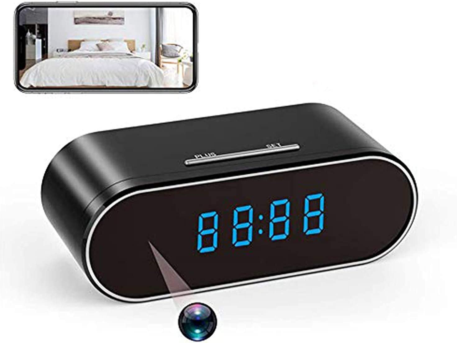 WiFi Hidden Cameras Clock ,HD 1080P Nanny Cam, 140°Angle Wireless Security Camera with Night Vision/Motion Detection/Loop Recording for Indoor Home Security Monitoring