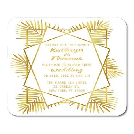 Mouse Pads Gold Geometric Artdeco and Palm Leaves Luxury ...