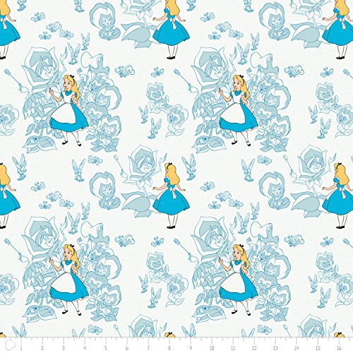 - Disney Alice in Wonderland Golden Afternoon Toile In Light Blue Fabric From Camelot By the Yard