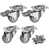"""bayite 4 Pack 1"""" Low Profile Casters Wheels Soft Rubber Swivel Caster with 360 Degree Top Plate 100 lb Total Capacity for Set"""