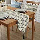 "YJBear Polyester Abstract Pattern Breathable Jacquard Weave Home Decoration with Fringe Kitchen Table Runner for Parties Halloween Christmas Machine Washable Green 12"" X 87"""