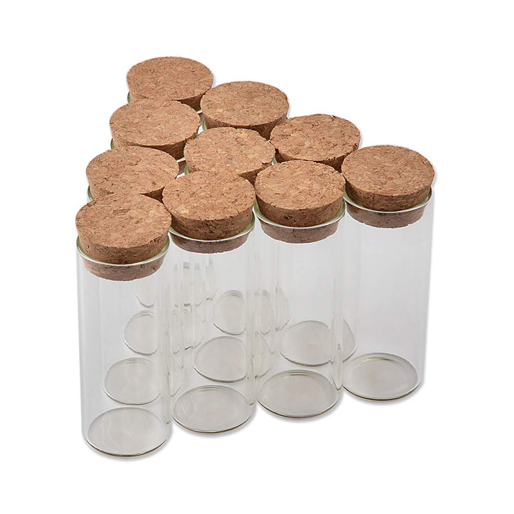 TAI DIAN 25ml Tiny Glass Bottle with Cork Transparent Clear Empty Spices Bottles (100, 25ml-27x70x24mm)