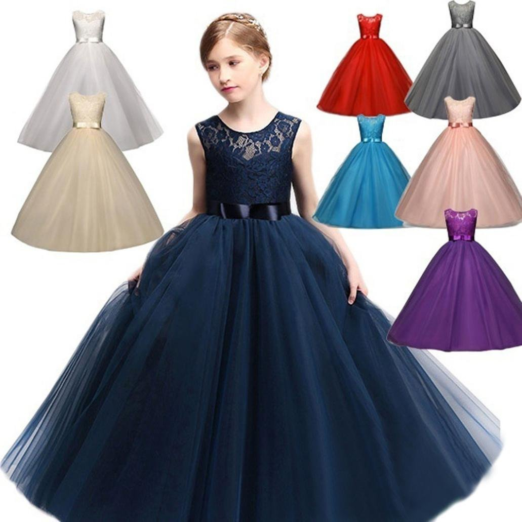 Scaling ♥Floral Maxi Girls Dresses,Flower Kids Girl Dress Princess Formal Pageant Holiday Wedding Bridesmaid Dress (Blue, 160) by Scaling