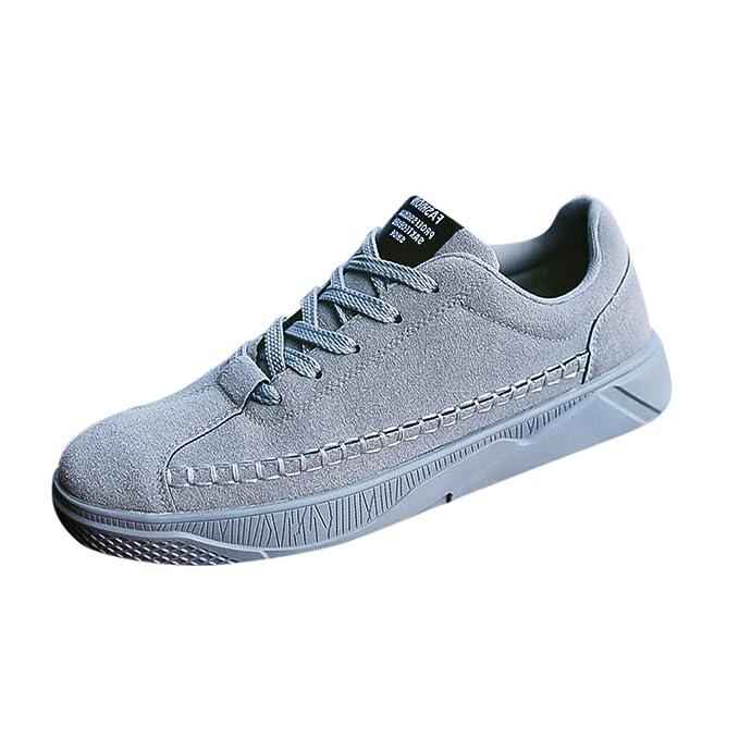 beautyjourney Zapatos de Cordones de Ante para Hombre, Zapatillas Deportivas de Color sólido con Cordones Zapatillas Casuales Zapatos de la Aptitud Zapatos ...