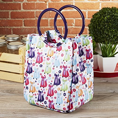 Fit & Fresh Kids' Lauren Insulated Bag, Mini-Tote for Lunch and Snacks, Foxy Meadow Meadow Lunch Box