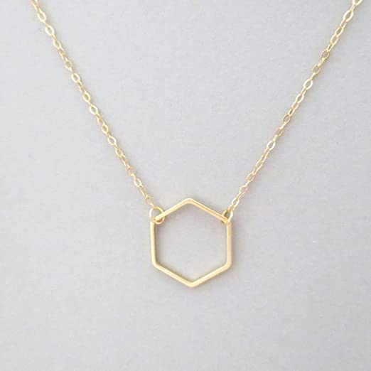 Handmade Geometric 3D Gold 24k Lariat Necklace with a Hexagon