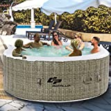Goplus 6 Person Inflatable Hot Tub for Portable Outdoor Jets Bubble Massage Spa Relaxing w/ Accessories (Coffee)