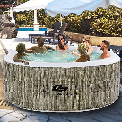 Goplus 6 Person Inflatable Hot Tub for Portable Outdoor Jets Bubble Massage Spa Relaxing w/Accessories (Coffee) by Goplus (Image #9)