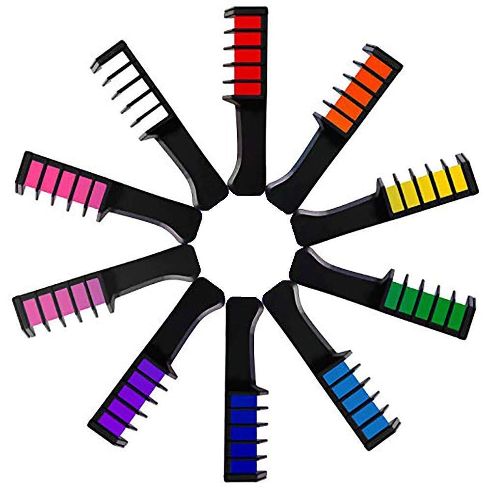Hair Chalk Comb Temporary Hair Dye Hair Color Brush Glitter Paint for Adults Kids & Children - Boys & Girls Idea Set of 10 pcs High Quality by Yevison