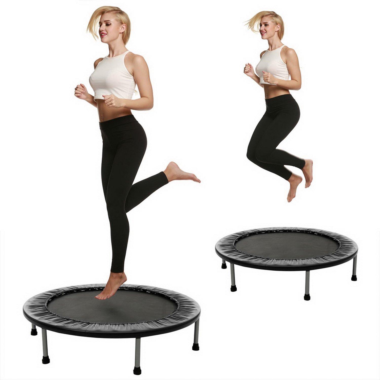 Oldhorse Fitness Trampolin minitrampolin Abnehmen mit Faltbar Indoortrampolin 96cm Max 100 KG für Erwachesene Leicht zu Tragen(DE Lager)