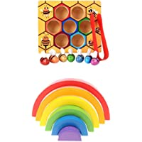 MagiDeal Montessori Bee Clipping Box Set Rainbow Stacking Blocks Kids Wooden Toy Early Learning Color & Shape Cognition