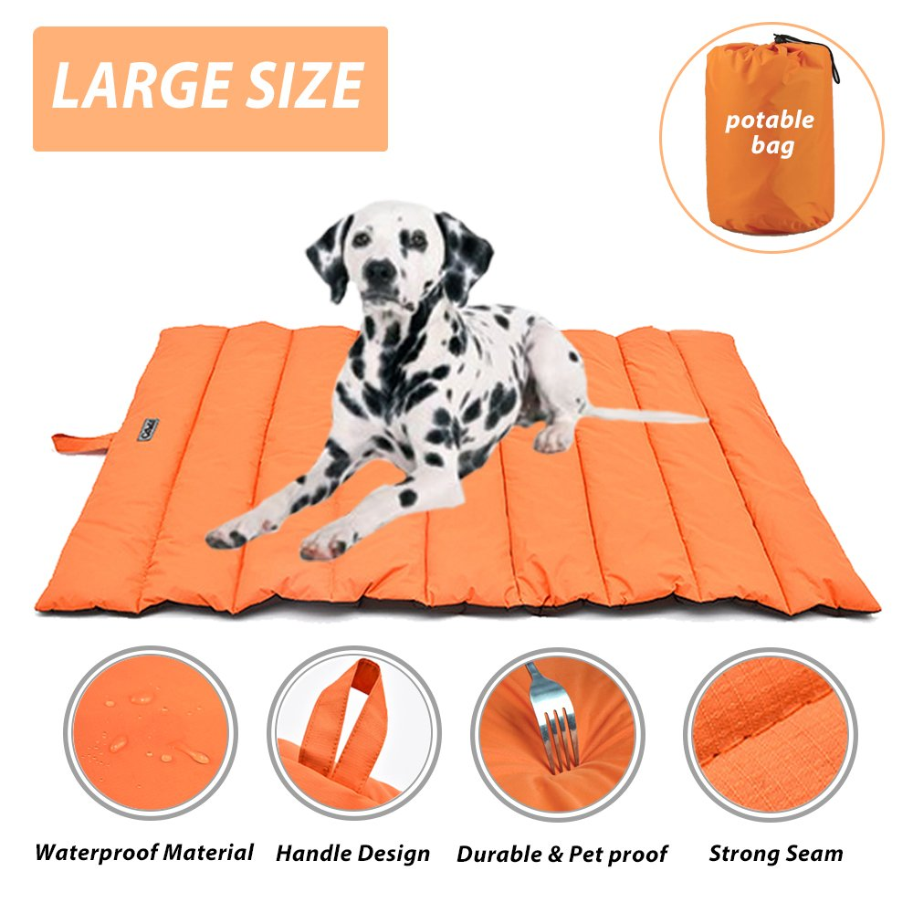 Portable Waterproof Soft Dog Mat for dog bed Couch Cushions Indoor or Outdoor Dog Blanket Orange Large