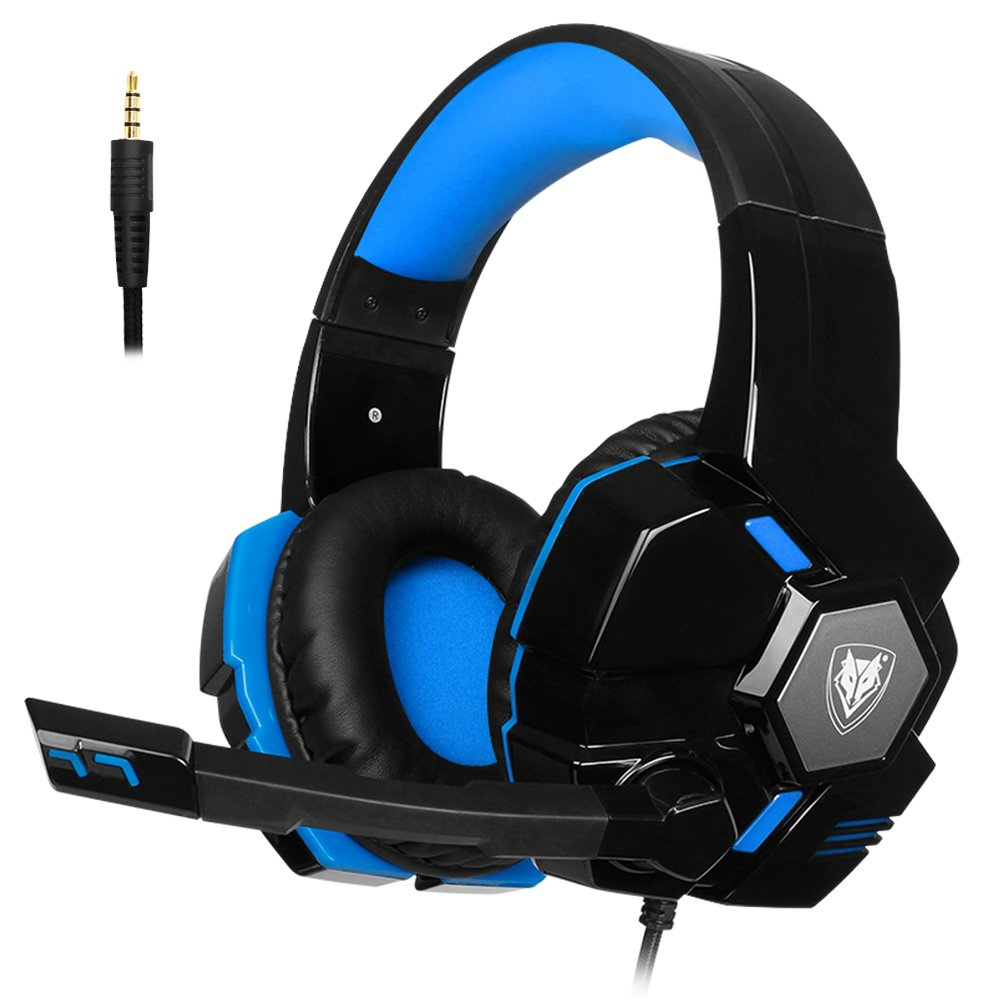 PC Gaming Headset Microphone Stereo Headphones PS4 Xbox One 3.5mm Wired Over Ear Flexible Headband Volume Control Noise Isolating Computer, Laptop, Mac, Nintendo Switch (Black-Blue)