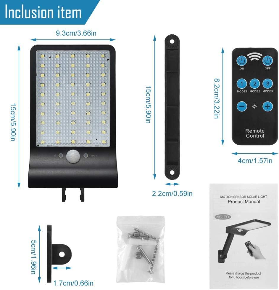 L/ámpara solar de pared sensor de movimiento solar 1pcs 50 LED para exterior 60 LED luz de seguridad IP65 resistente al agua luces de pared con focos giratorios instalados GEYUEYA