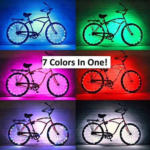 GlowRiders Ultra Bright LED - Bike Wheel Light String (1 pack) - Assorted Colors Bicycle Tire Accessories- Burning Man Accessory (7 Colors In One)