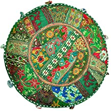 Indian Patchwork Round Pouf , Ottaman Cover. Home Decorative Pouf Cover,Handmade Foot Stool Floor Cushion Cover Living Room Pouffe Cover Embroidered Cotton Pillow Cover,Vintage Chair Cover Ethnic Decor Art 18''