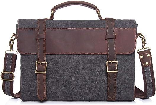 Black Men/'s Genuine Leather 13/'/' Laptop Briefcase Messenger Shoulder Bag Satchel