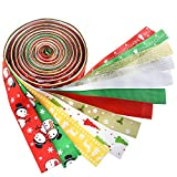 Kuuqa 12 Pieces Christmas Ribbons Grosgrain Satin Fabric Ribbon Set for Christmas Decorations, Gift Wrapping, Hair Bows Making, Craft Sewing or Wedding Decorations