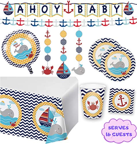 Nautical Baby Shower Party Supplies and Decorations for 16 Guests - Table Cover, Balloon, Baby Shower Banner, Plates, Matey Napkins, Hanging Cutouts and Paper Anchor Garland