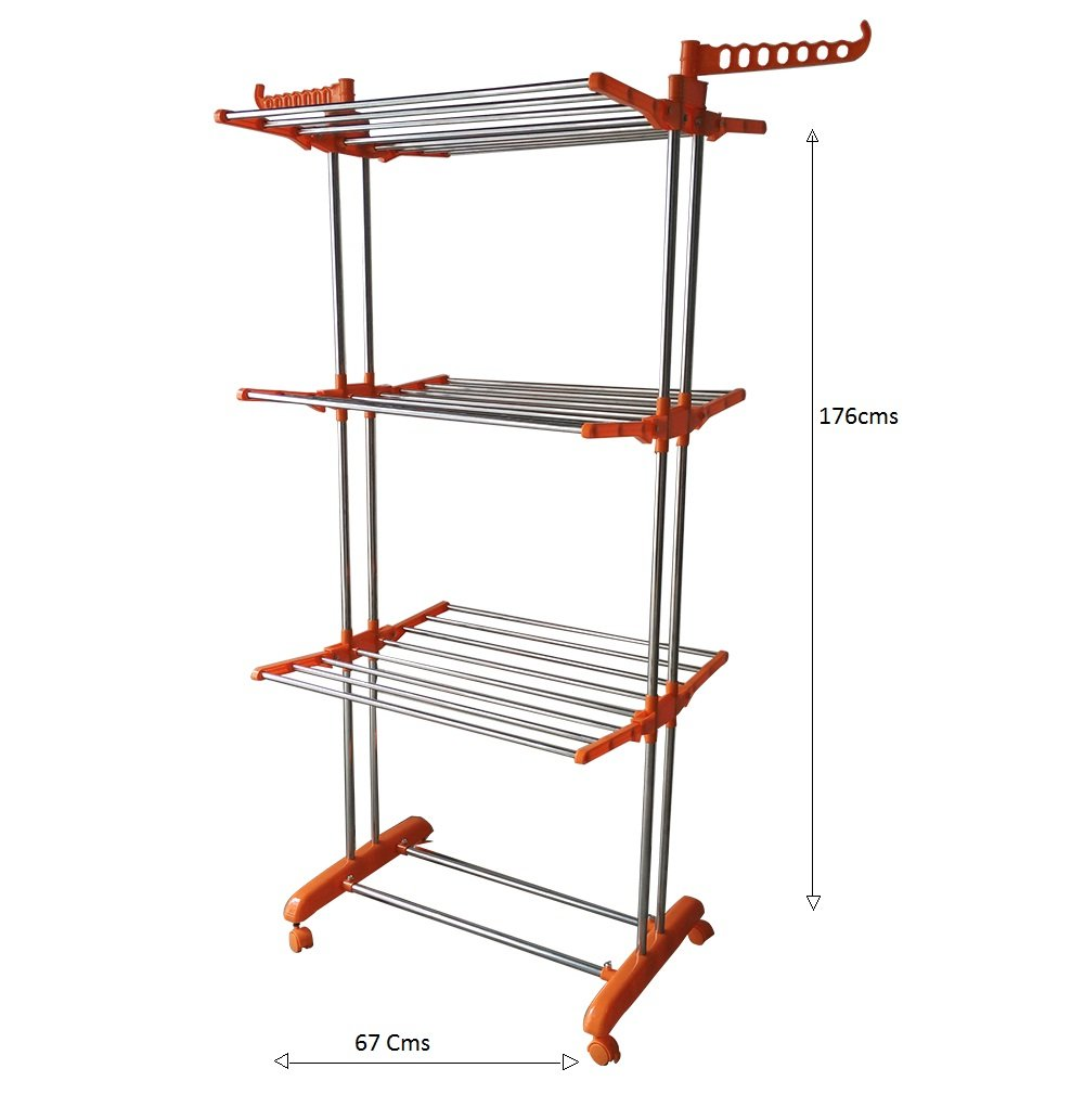Hi Quality Stainless Steel Clothes Drying Stand 3 Tier 26 Rods 14