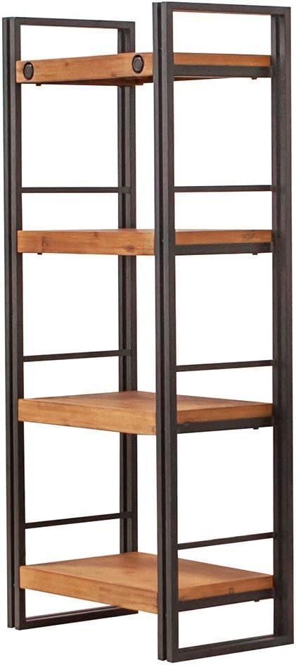 Estantería de estilo industrial de metal y madera de acacia, acabados prolijos, Colección Workshop, madera/metal, 4 étagères